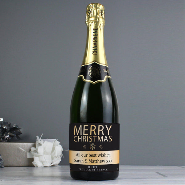 Personalised Merry Christmas Champagne - Fixed Text