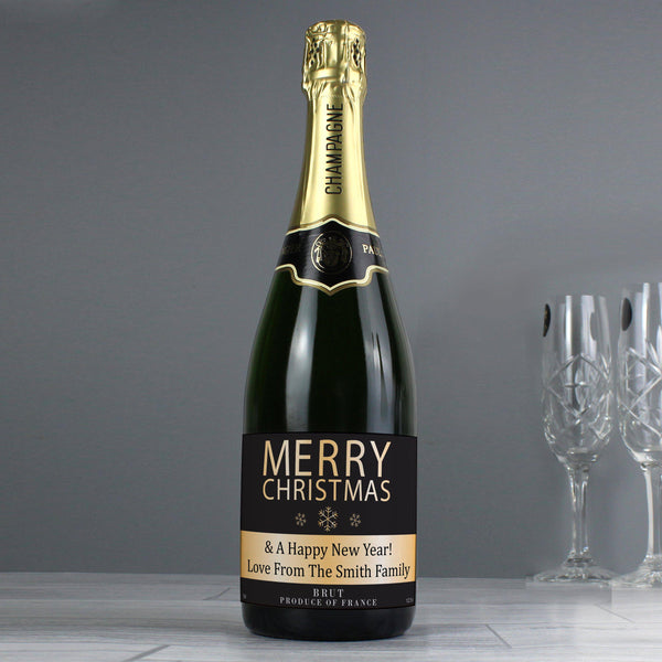 Personalised Merry Christmas Champagne - Sitting Next To Champagne Flutes