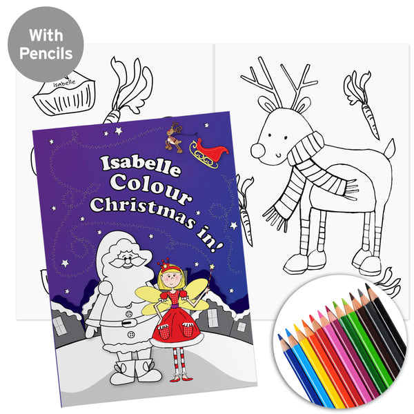Personalised 'It's Christmas' Fairy Colouring Book with Pencil Crayons - Personalised For Isabelle