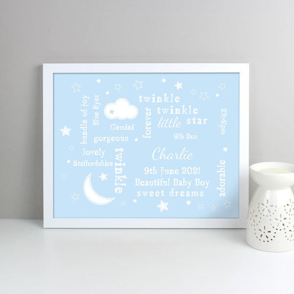 Personalised Blue Twinkle Twinkle Typography White Framed Print - Personalised For Baby Charlie
