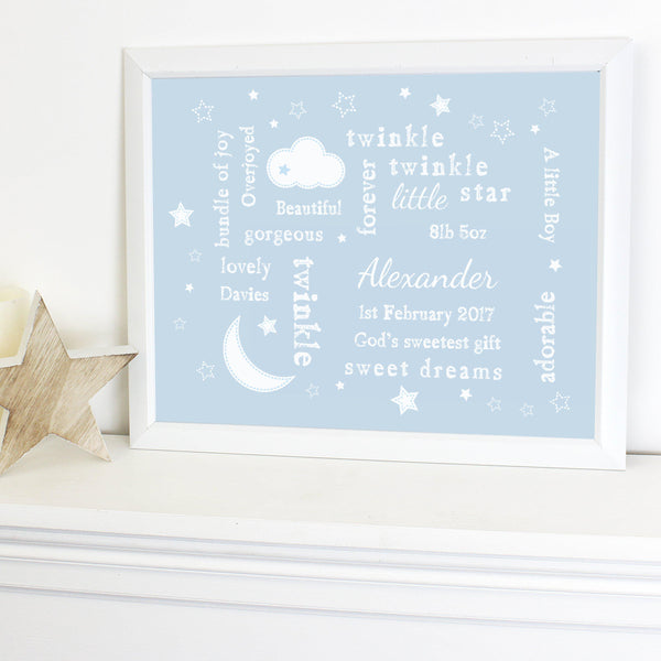 Personalised Blue Twinkle Twinkle Typography White Framed Print -  Displayed With Pride On A Unit