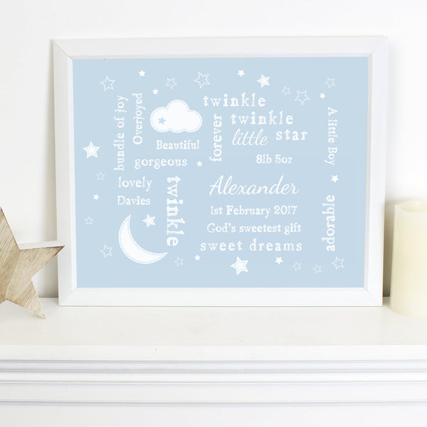 Personalised Blue Twinkle Twinkle Typography White Framed Print - Personalised For Alexander