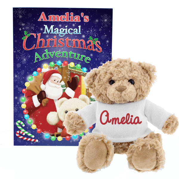 Personalised Magical Christmas Adventure Story Book and Personalised Teddy Bear - Personalised For Amelia