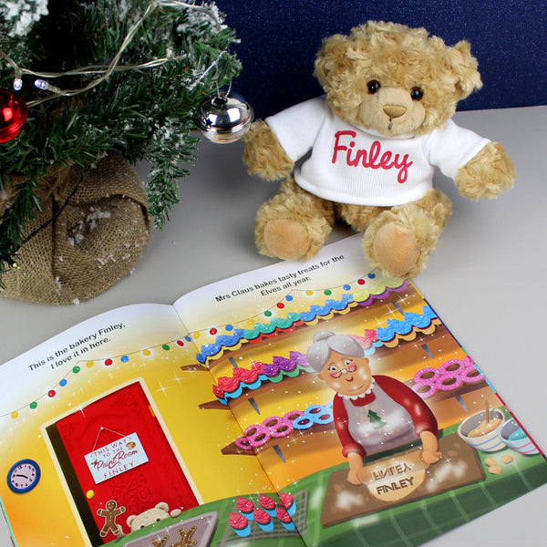 Personalised Magical Christmas Adventure Story Book and Personalised Teddy Bear -  Book Pages Open With The Personalised Bear And Small Christmas Tree