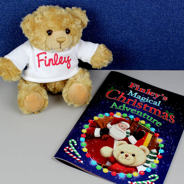 Personalised Magical Christmas Adventure Story Book and Personalised Teddy Bear - Personalised For Finley