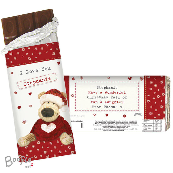 Personalised Boofle Christmas Love Milk Chocolate Bar -  Displaying Front & Rear Showing All Personalisation