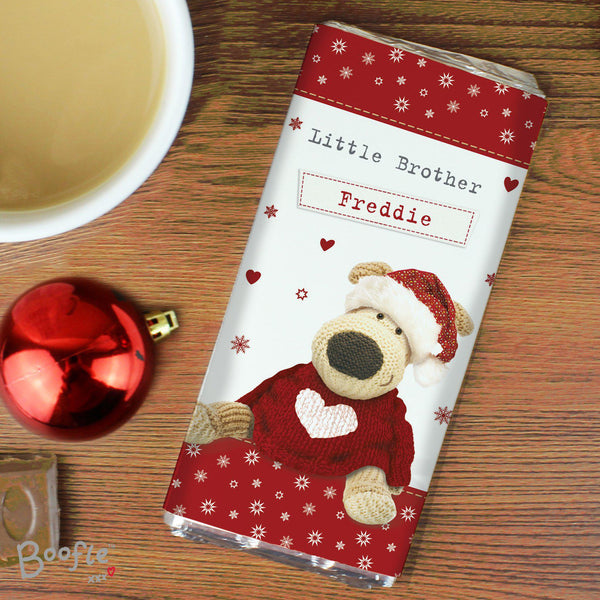 Personalised Boofle Christmas Love Milk Chocolate Bar - Text Read Little Brother Freddie