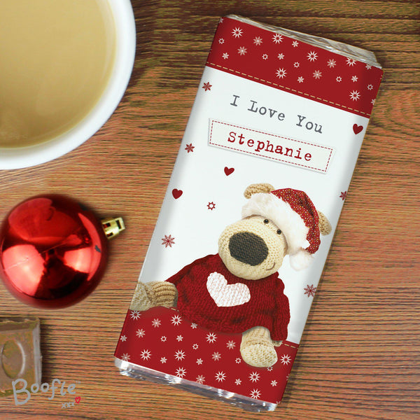 Personalised Boofle Christmas Love Milk Chocolate Bar - Text Reads I Love You Stephanie