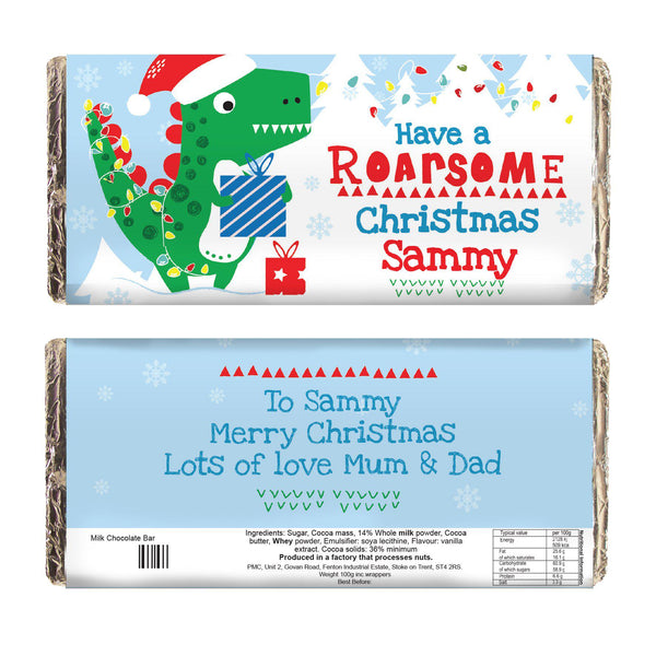 Personalised Dinosaur 'Have a Roarsome Christmas' Milk Chocolate Bar - Dinosaur In A Festive Setting