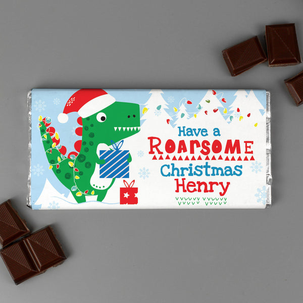 Personalised Dinosaur 'Have a Roarsome Christmas' Milk Chocolate Bar With Chocolate Outside The Bar