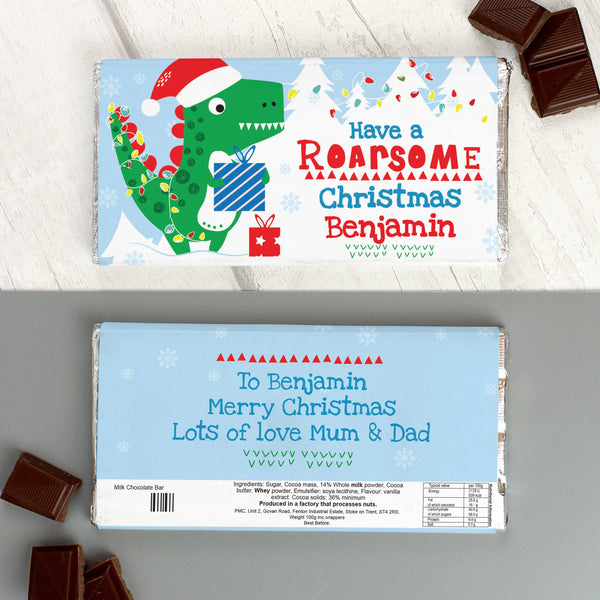 Personalised Dinosaur 'Have a Roarsome Christmas' Milk Chocolate Bar - Front & Rear Shown