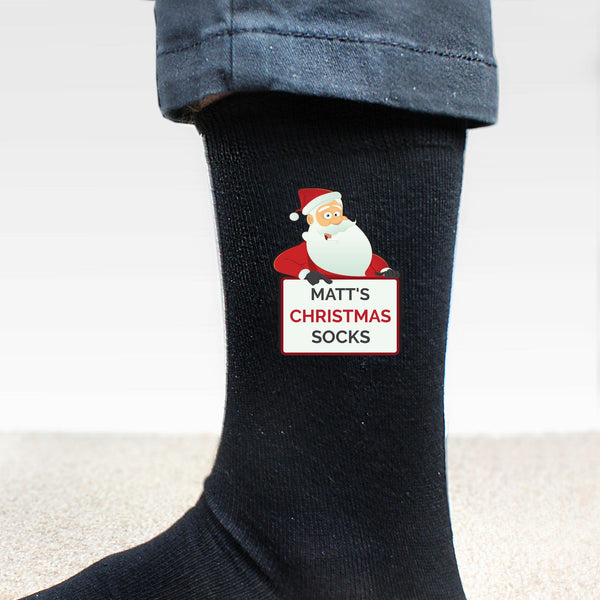 Personalised Santa Claus Christmas Socks - Santa Holding A Sign Stating