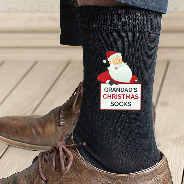 Personalised Santa Claus Christmas Socks -  Worn By A Male Model