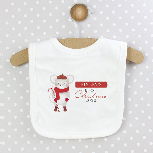 Personalised '1st Christmas' Mouse Bib - Mouse Is Wearing Red Hat, Scarf & Gloves Whilst Carrying A Candy Cane