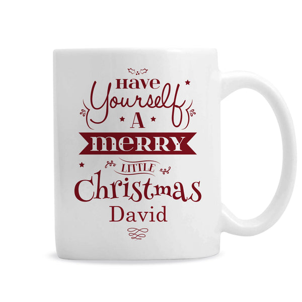 Personalised Merry Little Christmas Mug  - Personalised Name Below Fixed Text