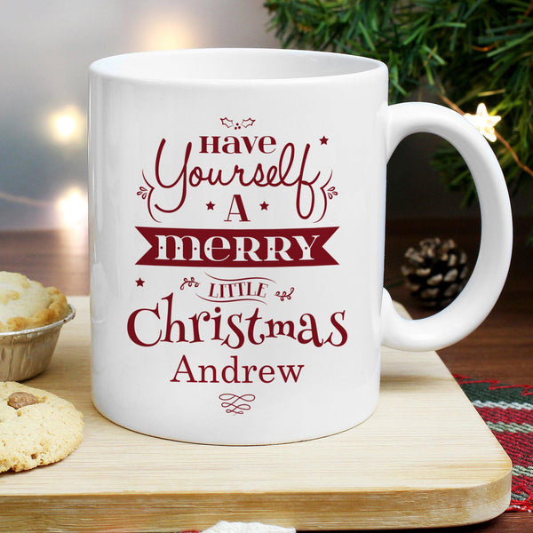 Personalised Merry Little Christmas Mug -  Close Up Of Mug