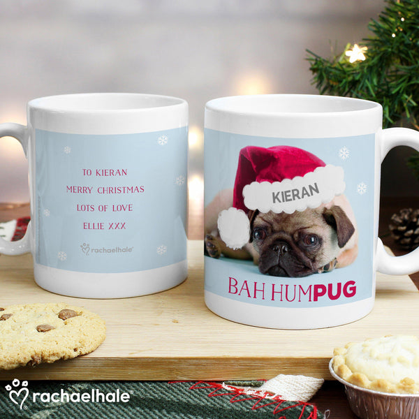 Personalised Rachael Hale Christmas Bah Hum Pug Mug - Personalised For Kieran With A Special Message On The Rear From Ellie
