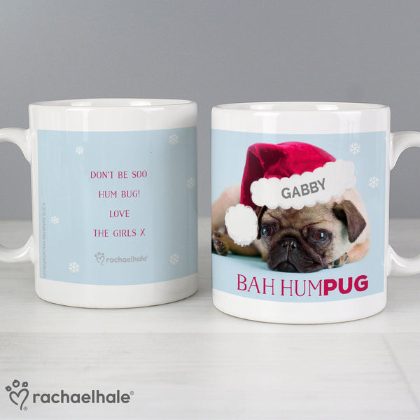 Personalised Rachael Hale Christmas Bah Hum Pug Mug - Recipients Name Is Personalised On Th Pugs Christmas Hat