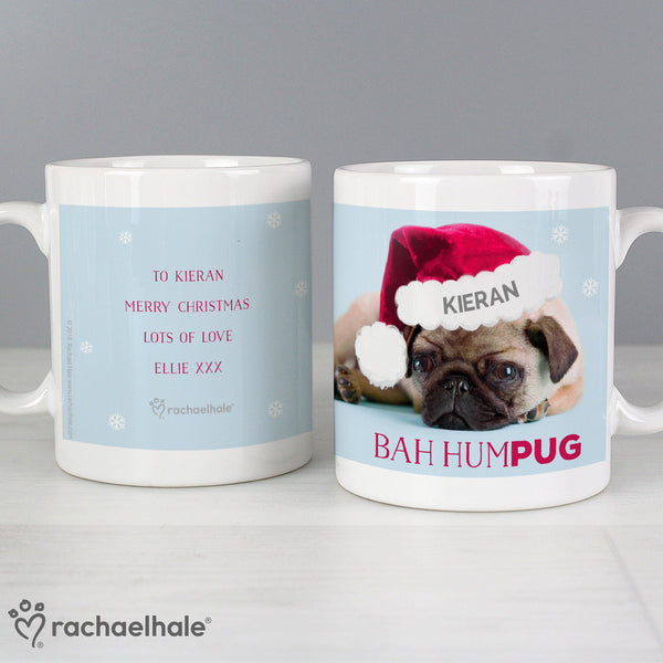 Personalised Rachael Hale Christmas Bah Hum Pug Mug - Features A Cute Pug Wearing A Christmas Hat Laying Over The Fixed Text