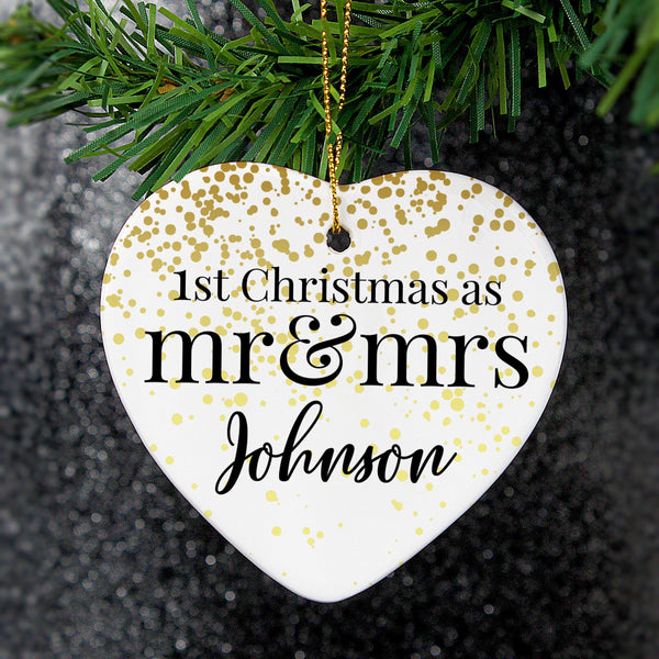 Personalised Mr and Mrs 1st Christmas Ceramic Heart Decoration -  Personalised For The Happy Johnson's