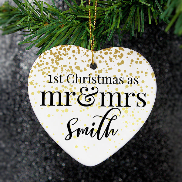 Personalised Mr and Mrs 1st Christmas Ceramic Heart Decoration -  Mr & Mrs Smith