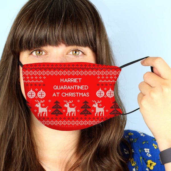 Personalised Festive Christmas Face Covering - Worn By A Female Model