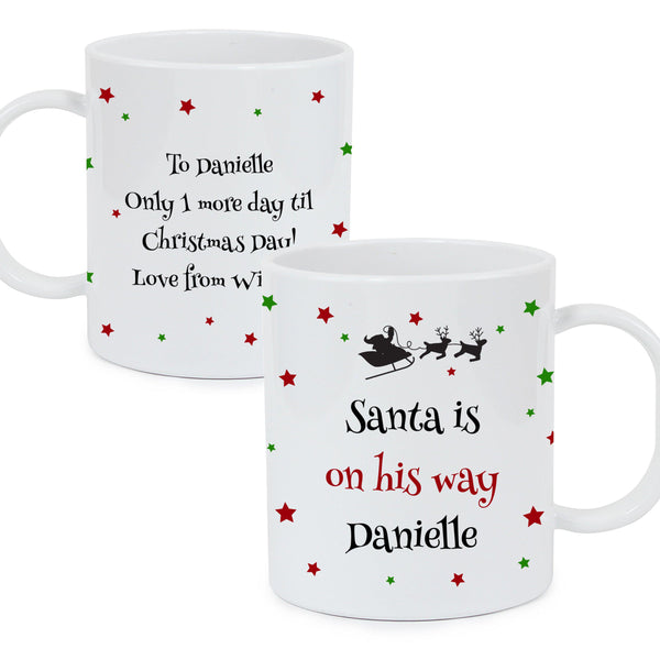 Personalised Christmas Eve Plastic Mug - Personalised Text That Reads