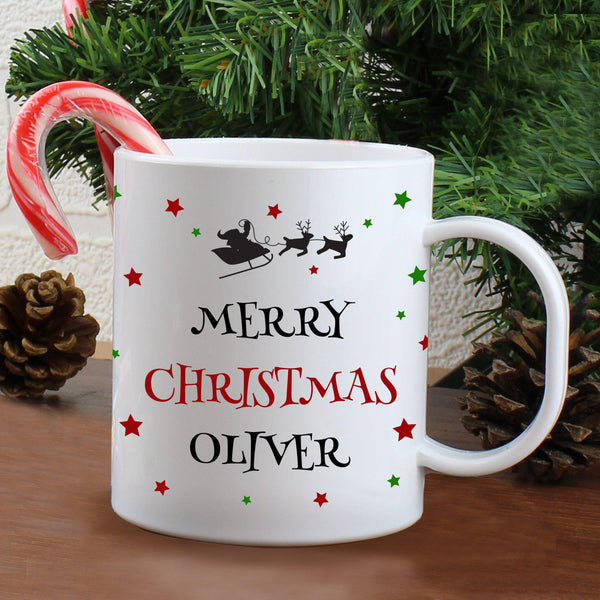 Personalised Christmas Eve Plastic Mug With Santa On His Sleigh In The Night Sky