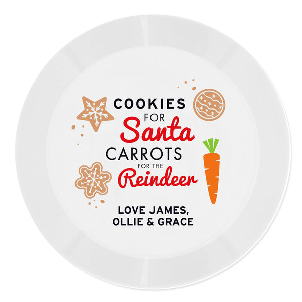 Personalised Cookies for Santa Christmas Eve Plastic Plate - Decorated With Carrots & Cookies