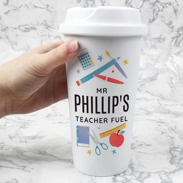 Personalised Teachers Insulated Eco Travel Cup -  Text Reads