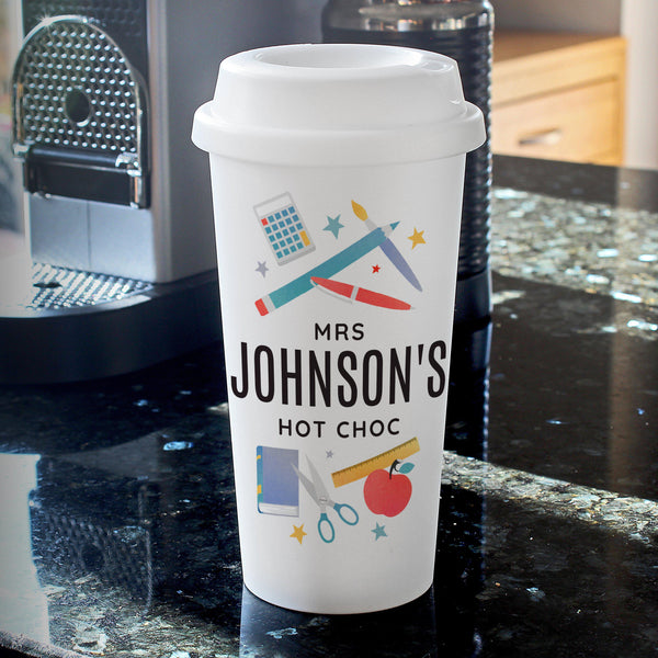 Personalised Teachers Insulated Eco Travel Cup - Cup Has A Snazzy Teacher Design Featuring All The Tools A Teacher Will Need