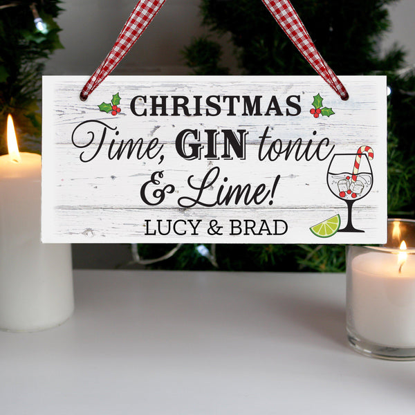 Personalised Christmas Gin Wooden Sign - Features Holly & A Gin Glass
