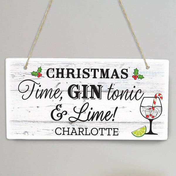 Personalised Christmas Gin Wooden Sign -  Personalised For Charlotte