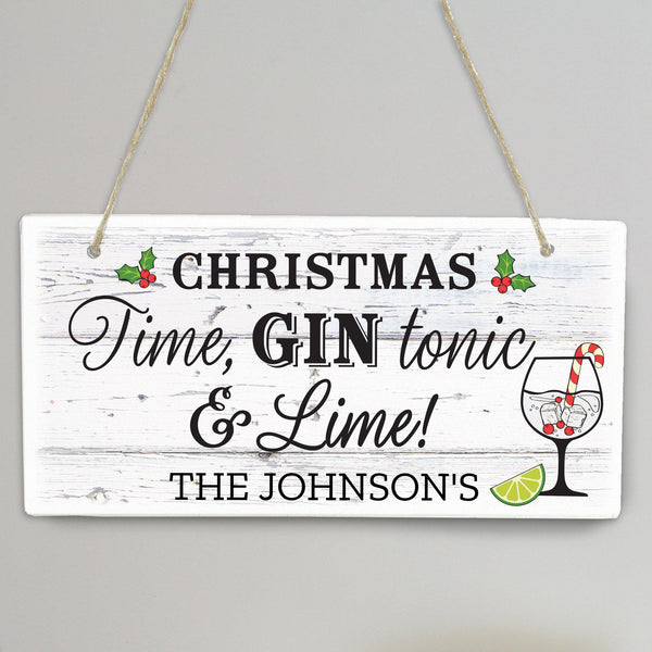 Personalised Christmas Gin Wooden Sign - Personalised For The Johnson's