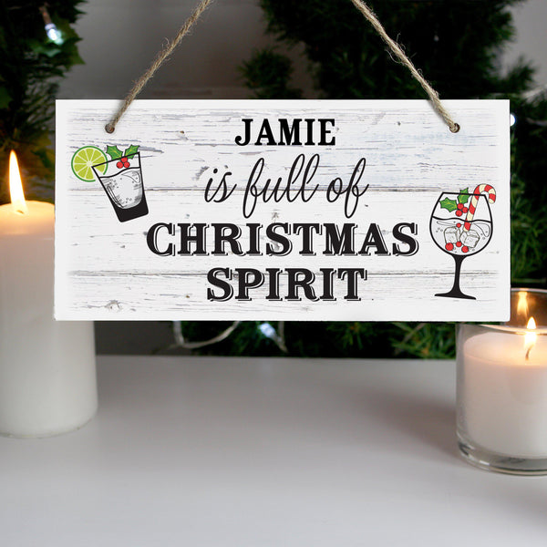 Personalised Christmas Spirit Wooden Sign -  White Wood Effect Sign