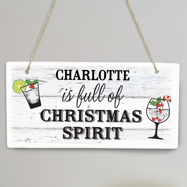 Personalised Christmas Spirit Wooden Sign -  Personalised For Charlotte
