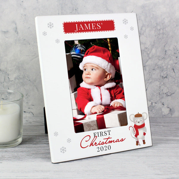 Personalised '1st Christmas' Mouse White 6x4 Photo Frame - Personalised For James