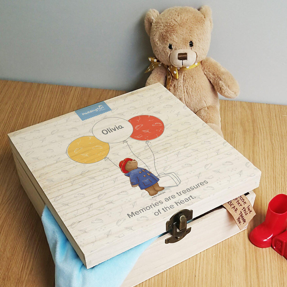 Paddington Bear Balloon Hinged Memory box