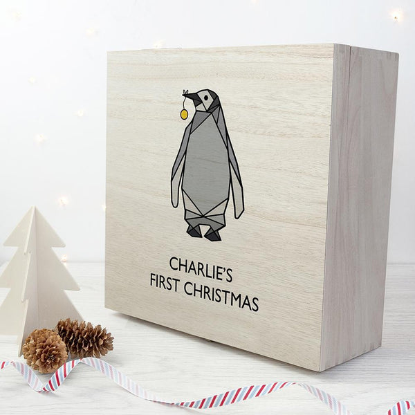 Personalised Baby Penguin First Christmas Box - Large