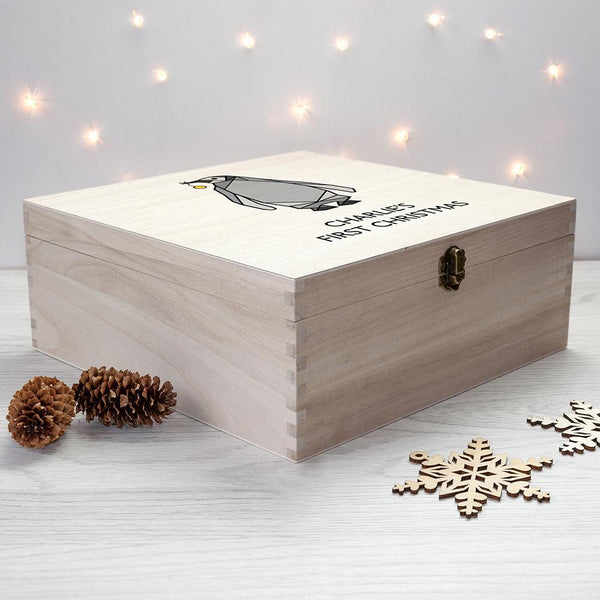 Personalised Baby Penguin First Christmas Box - Large - Personalised Text With Penguin Carrying A Bauble