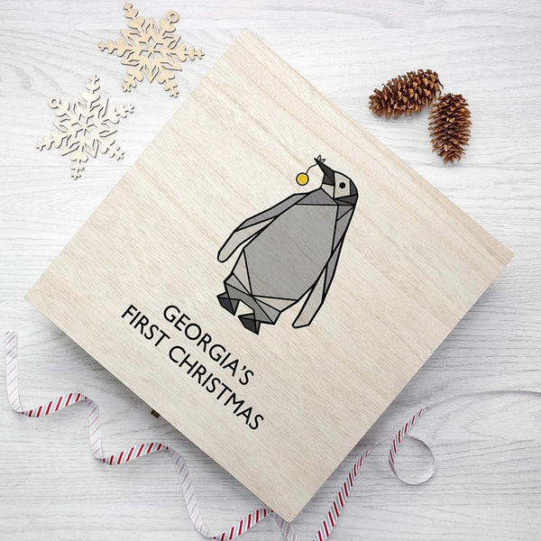 Personalised Baby Penguin First Christmas Box - Large - Personalised For George