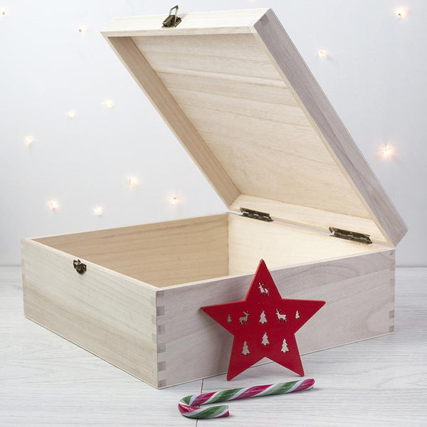 Personalised Baby Penguin First Christmas Box -  Large - Box Ajar With A Christmas Star Leaning Against It