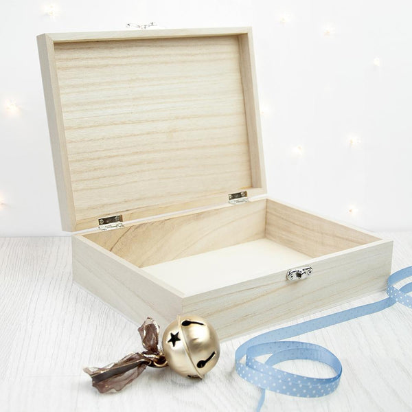 Personalised Baby Penguin First Christmas Box -  Small - With Blue Colourway