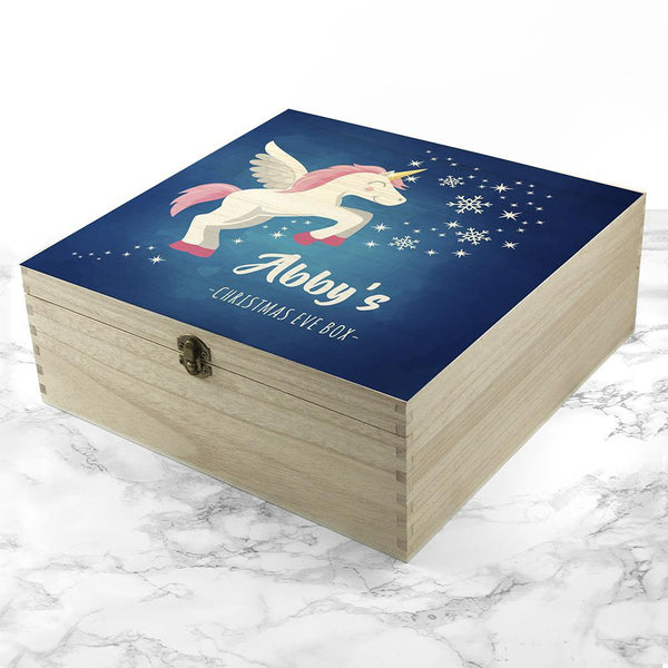 Personalised Baby Unicorn Christmas Eve Box - Large - Unicorn In The Christmas Night Sky