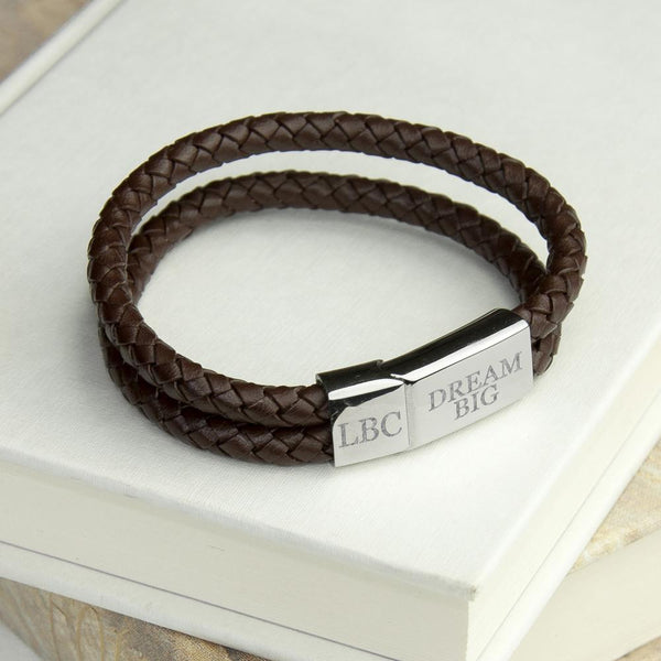 Personalised Men's Dual Leather Woven Bracelet In Umber - Personalised With 3 Initials & Dream Big
