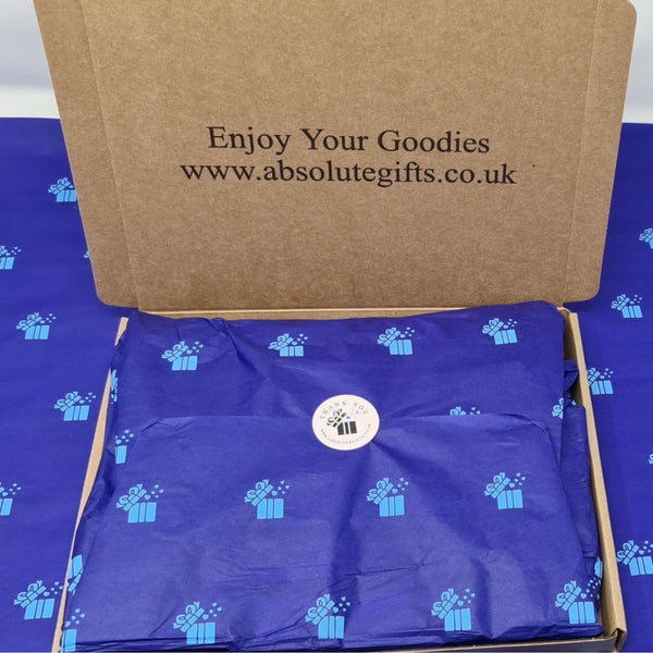 Two By Two Wax Melts Gift Box -  2 Clamshells - 2 Snap Bars - 2 Shot Pots - 3 Tealights - Packed In Blue Crepe Paper And Wrapped