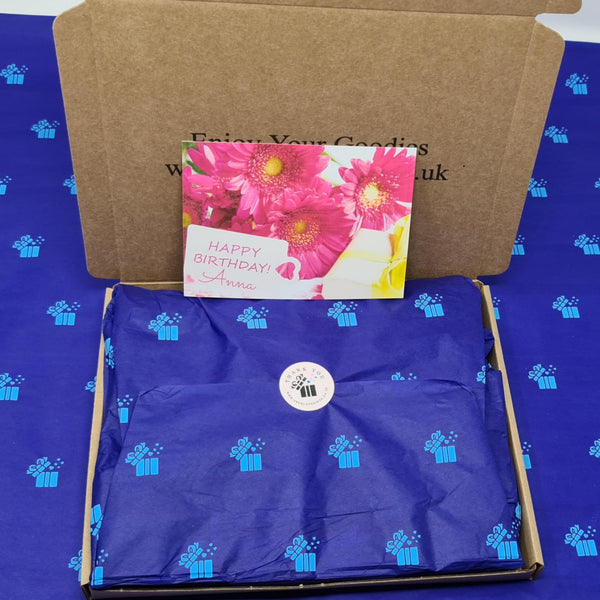 Two By Two Wax Melts Gift Box -  Packed  And Wrapped In Blue Crepe Paper Along With A Birthday Message Card For Her (Front View)