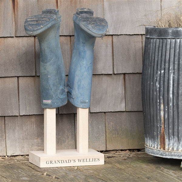 Solid oak Welly Boot Stand with wellies proudly perched on the stand