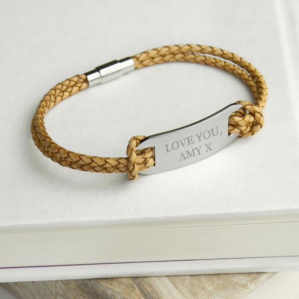 Personalised Men's Statement Leather Bracelet in Sandstone -  From Amy With Love