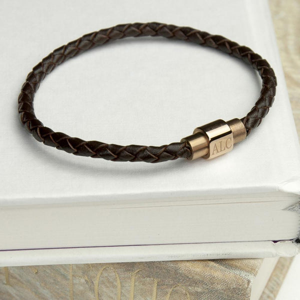 Personalised Men's Woven Leather Bracelet With Gold Clasp -  Close Up Of Gold Clasp And Initial Engraving